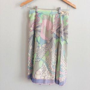 Emilio Pucci Vintage Authentic Silk Skirt   Sz 2